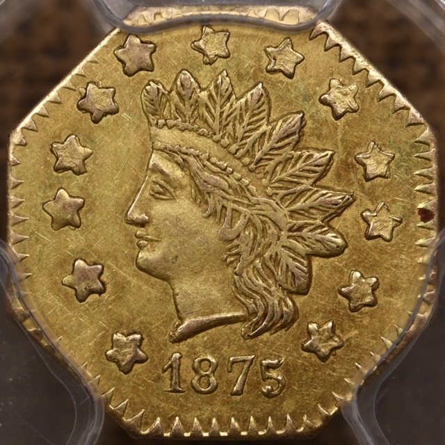 1875 BG-1127 California Fractional Octagonal Gold Dollar PCGS AU58