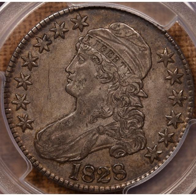 1828 O.106 R4+ Curl base Knob 2 Capped Bust Half Dollar PCGS XF45 CAC