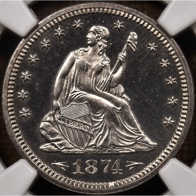 1874 Arrows Seated Liberty Quarter NGC PR64 CAM CAC