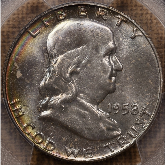 1958-D Franklin Half Dollar PCGS MS65FBL CAC, outrageous Mint Set color