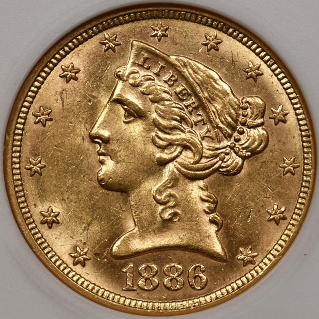 1886 $5 Liberty Head Half Eagle First Gen ANACS Cache MS60, I grade PQ++