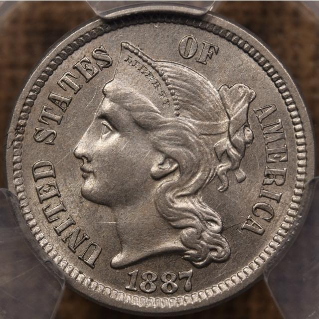 1887 Three Cent Nickel PCGS MS62 CAC