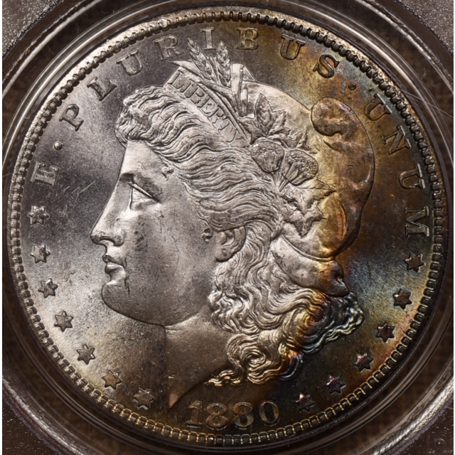 1880-S Morgan Dollar PCGS MS66 CAC OGH, Monster Obv Rainbow