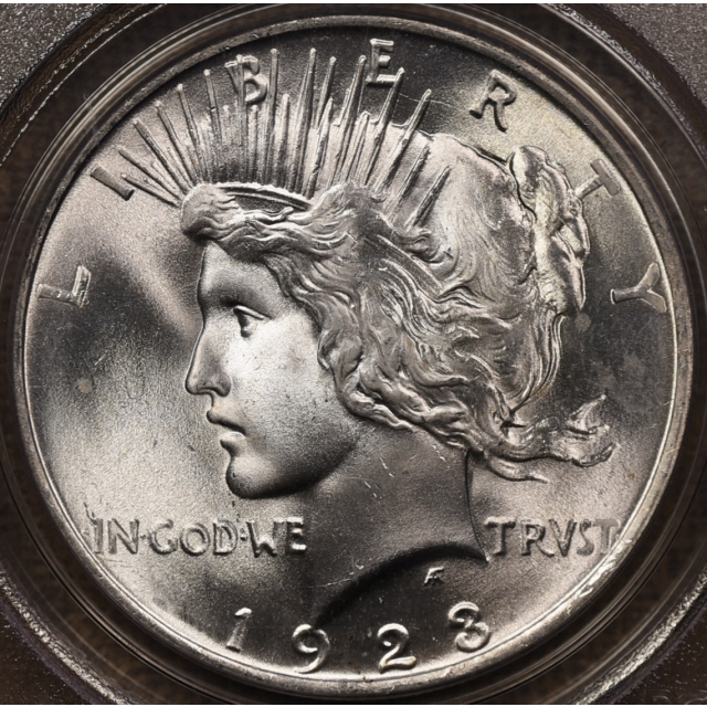 1923 Peace Dollar PCGS MS65 OGH CAC, I grade 66