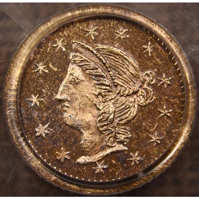 1870 BG-867 Round California Fractional Gold 25c PCGS MS64