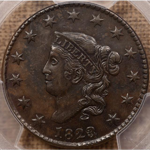 1823/2 N.1 Coronet Head Cent PCGS AU53 CAC