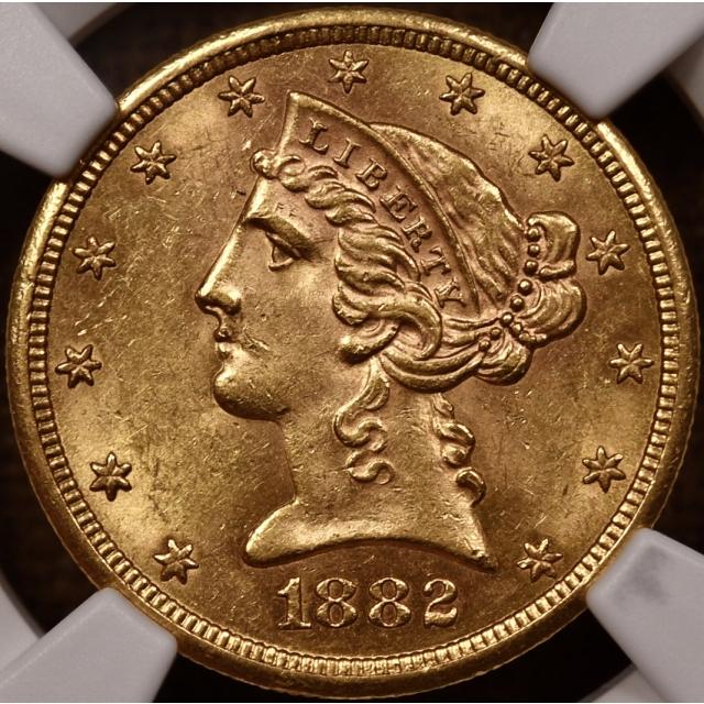 1882-S $5 Half Eagle with Motto NGC MS62
