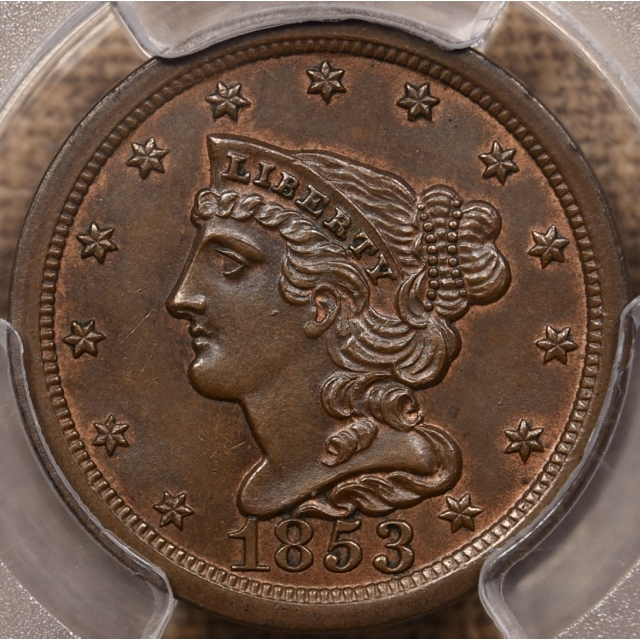 1853 Braided Hair Half Cent PCGS MS65 BN CAC