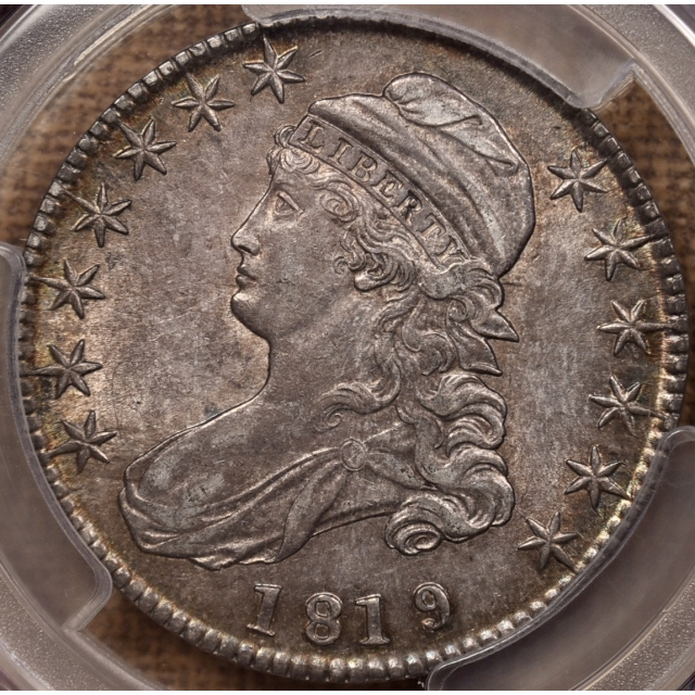 1819/8 O.101 Small 9 Capped Bust Half Dollar PCGS AU58 CAC