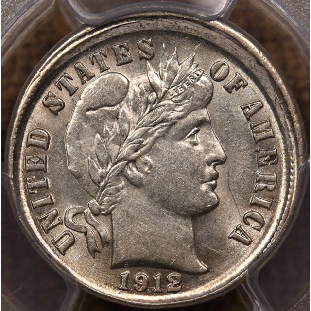 1912-D Mint Error Broadstruck Barber Dime PCGS AU58