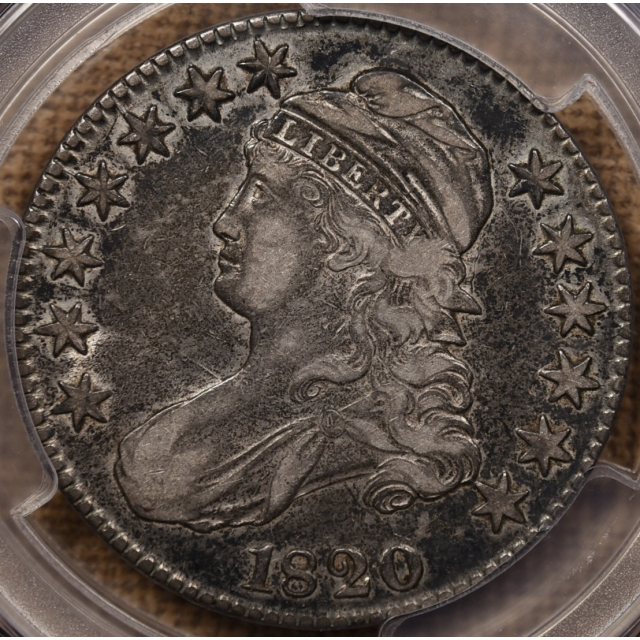 1820 O.107 No Serifs Capped Bust Half Dollar PCGS VF35 CAC