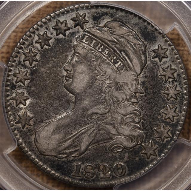 1820 O.107 No Serifs Capped Bust Half Dollar PCGS VF35 CAC