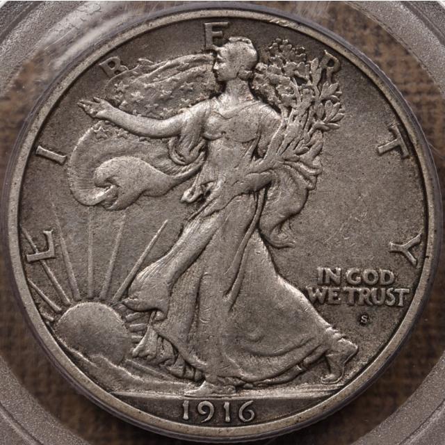 1916-S Walking Liberty Half Dollar PCGS XF40 CAC