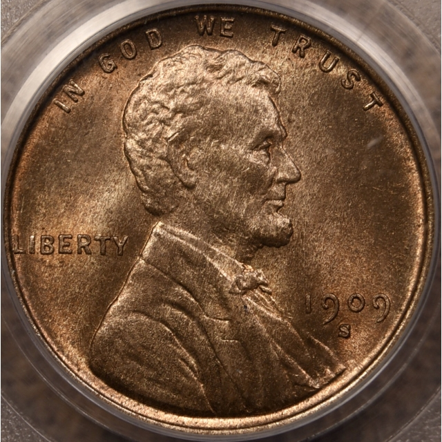 1909-S VDB Lincoln Cent PCGS MS65 RB OGH CAC