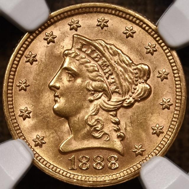 1888 Quarter Eagle $2.50 NGC MS64 CAC