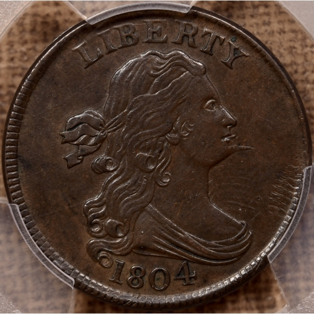 1804 C.6 Spiked Chin Draped Bust Half Cent PCGS AU55+ CAC
