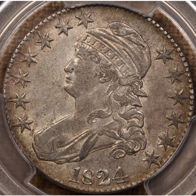 1824 O.104 Capped Bust Half Dollar PCGS AU53 CAC