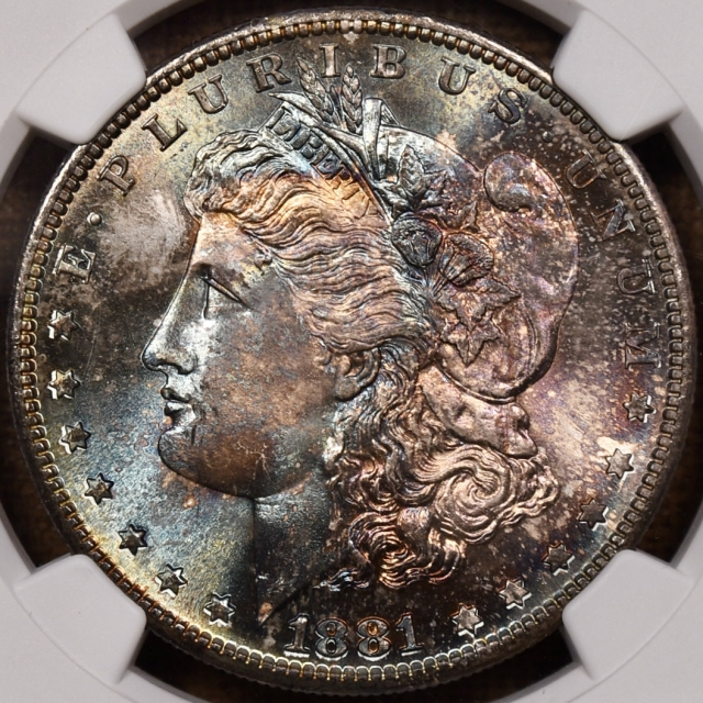 1881-S Morgan Dollar NGC MS66+ CAC, WOW WEE color