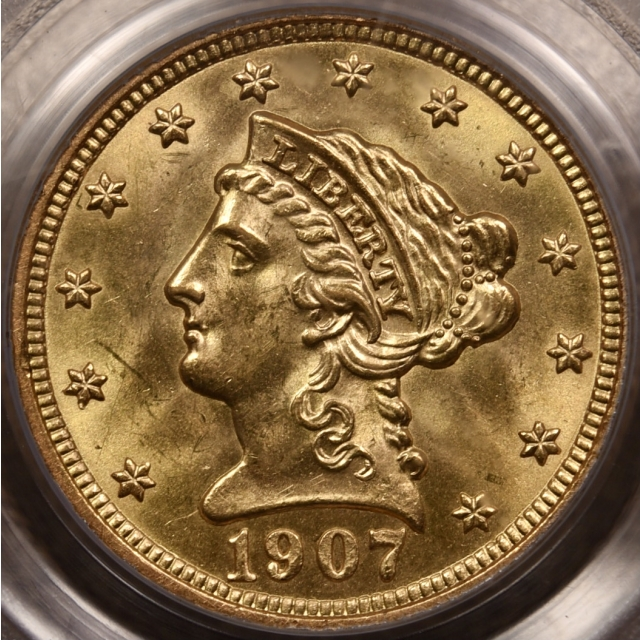 1907 $2.50 Liberty Head Quarter Eagle PCGS MS64 OGH CAC