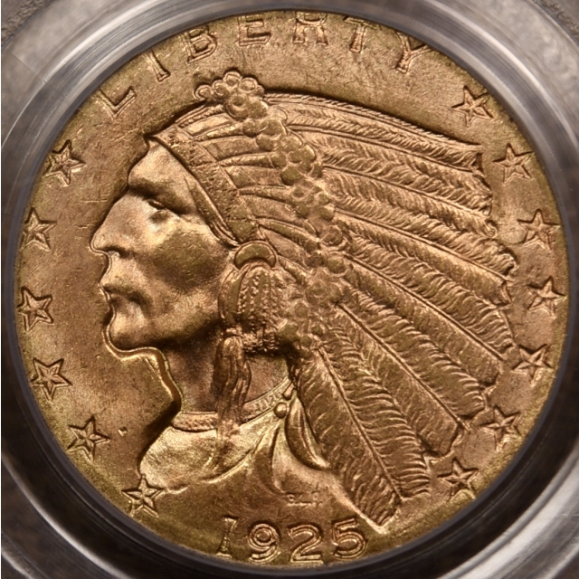 1925-D $2.50 Indian Head PCGS MS64 OGH CAC