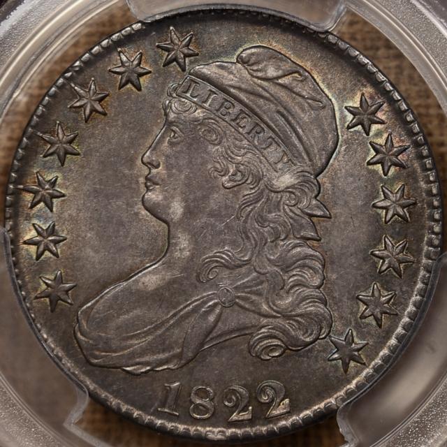 1822/1 O.101 Capped Bust Half Dollar PCGS AU58 CAC