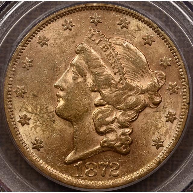 1872 Liberty Head Double Eagle $20 PCGS AU58 CAC