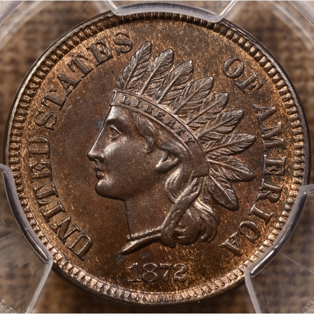 1872 FS-901 S-10e Shallow N Indian Cent PCGS MS63 BN CAC