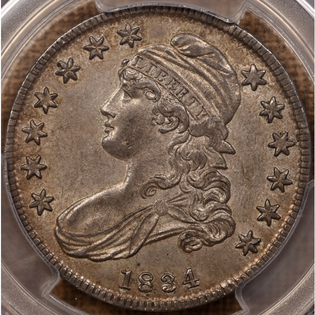 1834 O.109 Small Date, Small Letters Capped Bust Half Dollar PCGS AU55