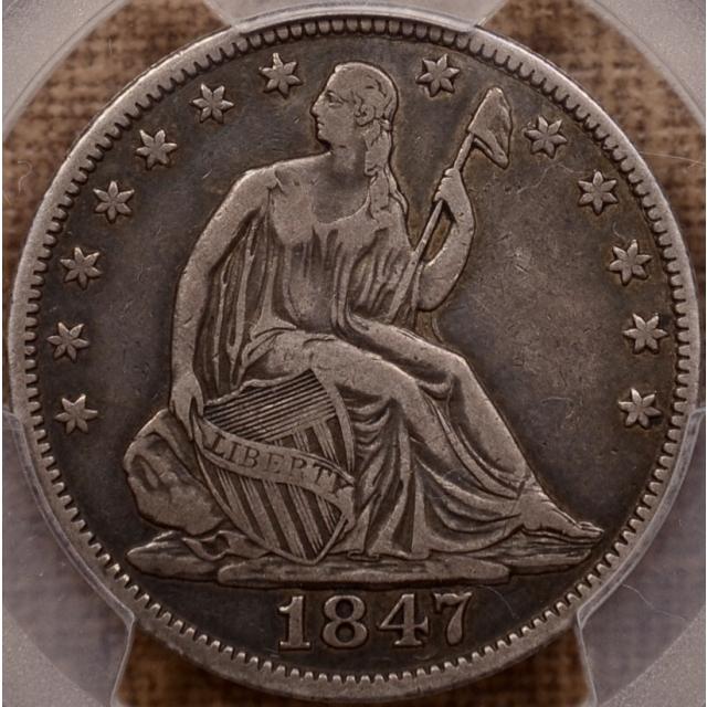 1847/6 WB-9 R5 Liberty Seated Half Dollar PCGS VF25 CAC