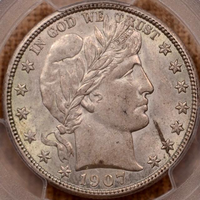 1907 Barber Half Dollar PCGS AU58