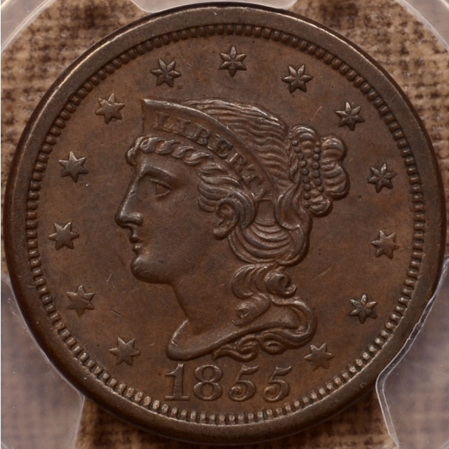1855 N.10 Slanted 55 Braided Hair Cent PCGS AU58