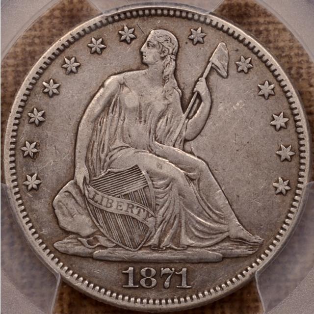1871 Liberty Seated Half Dollar PCGS XF40