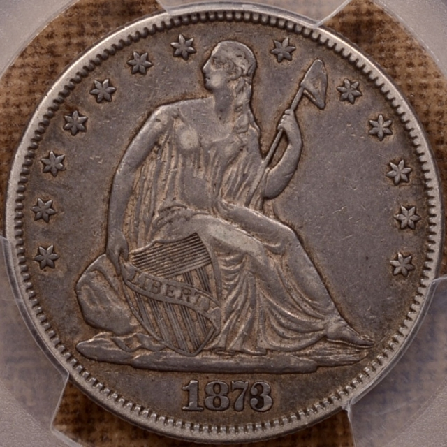 1873 No Arrows Closed 3 Liberty Seated Half Dollar PCGS XF40