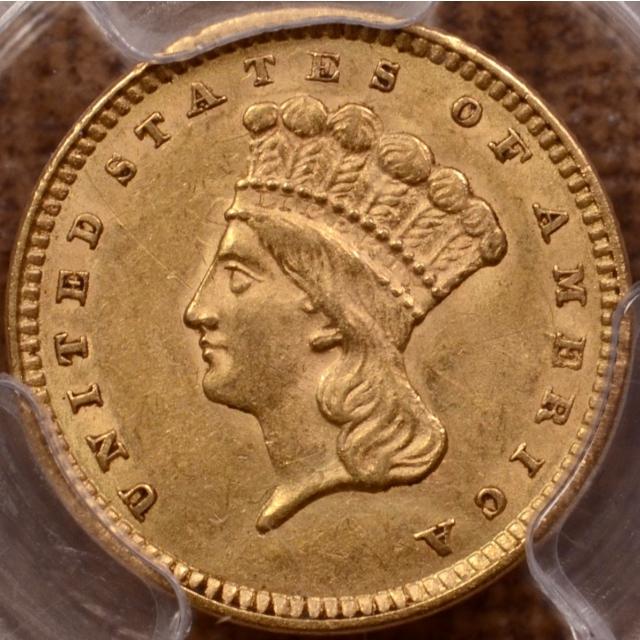 1857 Gold Dollar PCGS MS61, Western NC Hoard