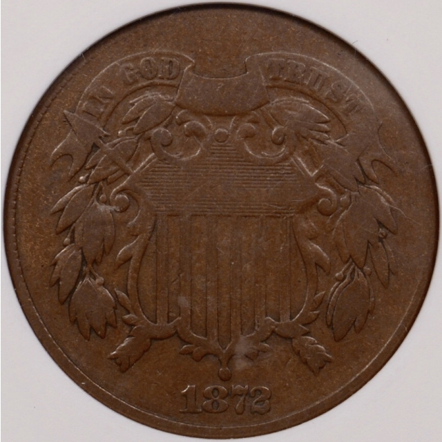 1872 Two Cent Piece old ANACS VG10