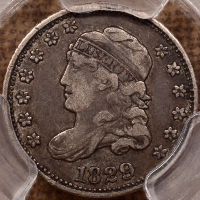 1829 LM-5 Capped Bust Half Dime PCGS VF25, Early Die State