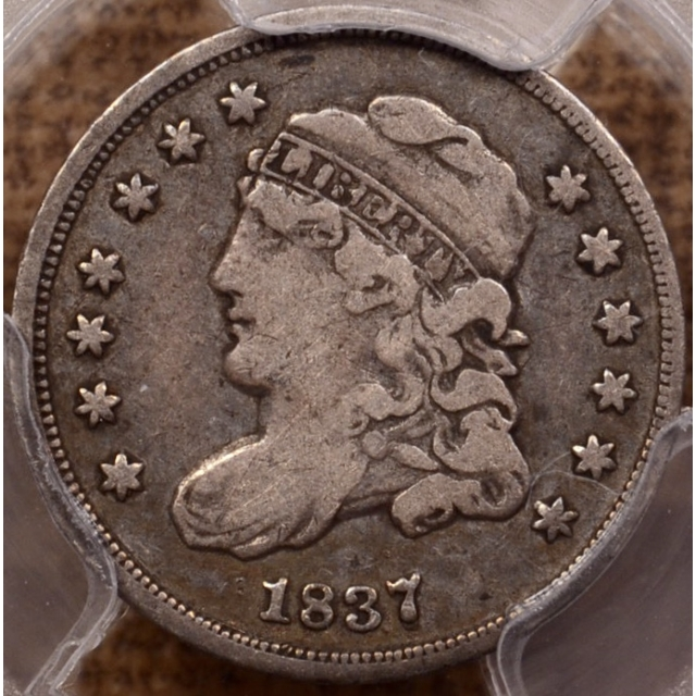 1837 LM-1 Large 5C Capped Bust Half Dime PCGS VF20