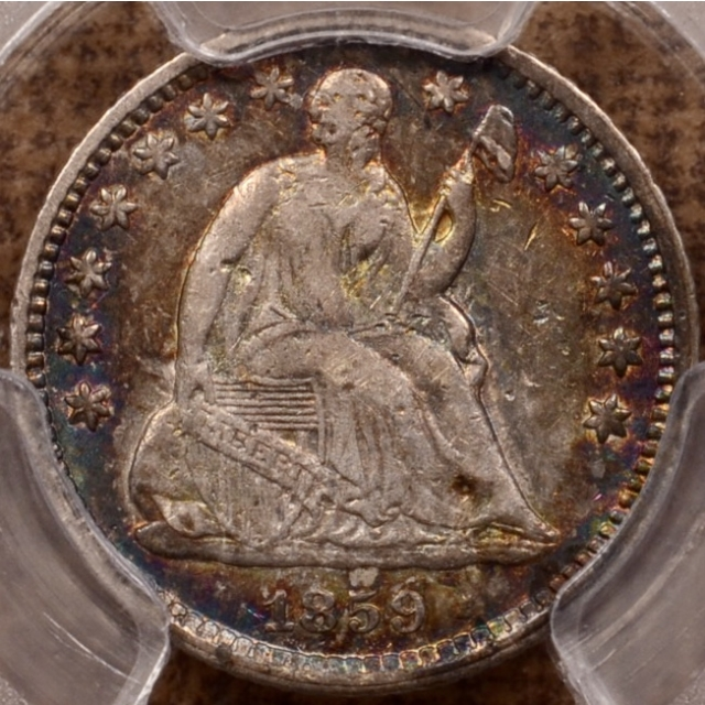 1859-O Liberty Seated Half Dime PCGS XF40, Incredible album color
