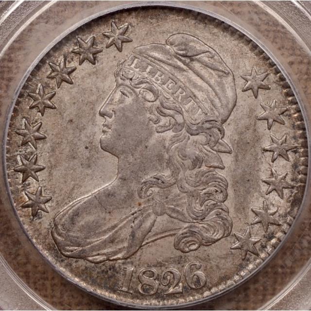 1826 O.116a Capped Bust Half Dollar PCGS AU55, ex. Davignon, Revier
