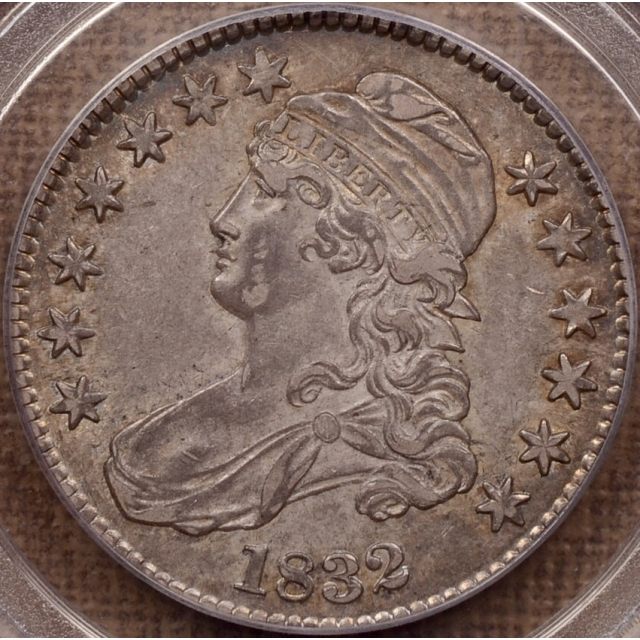 1832 O.107 Small Letters Capped Bust Half Dollar PCGS AU53 (CAC) ex. J Ross, D Kahn