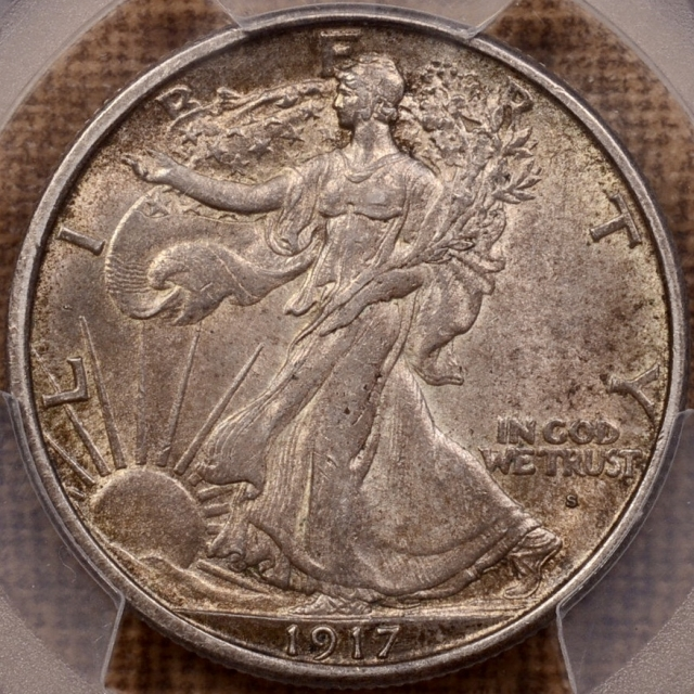 1917-S Obverse Walking Liberty Half Dollar PCGS AU58 (CAC)