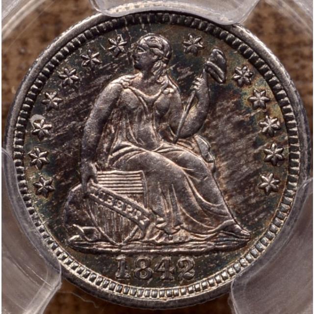 1842 Liberty Seated Half Dime PCGS AU58+ (CAC)