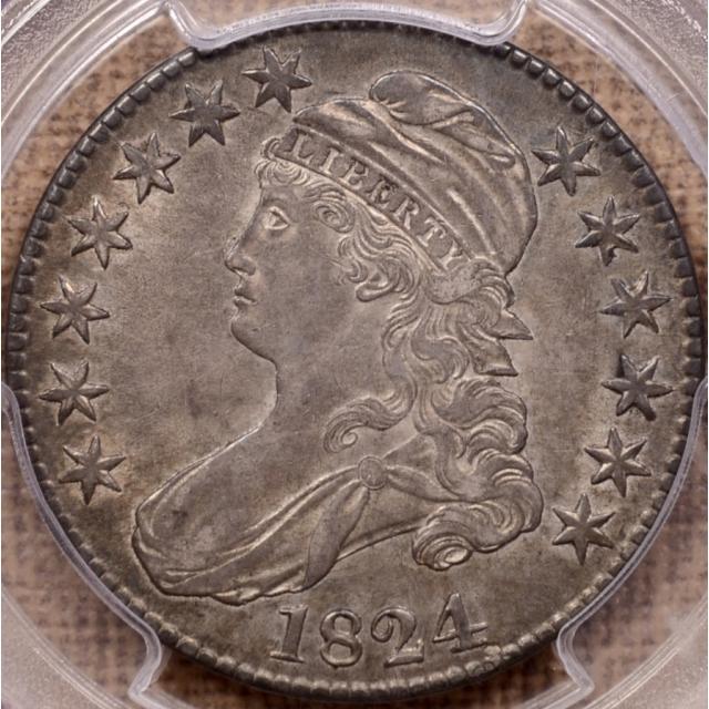 1824 O.107 Capped Bust Half Dollar PCGS AU53 (CAC)