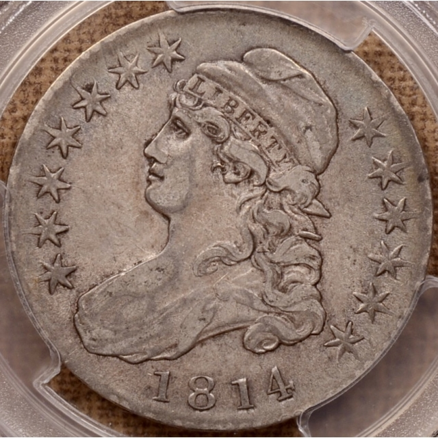 1814 O.105a Single Leaf Capped Bust Half Dollar PCGS VF35 (CAC)