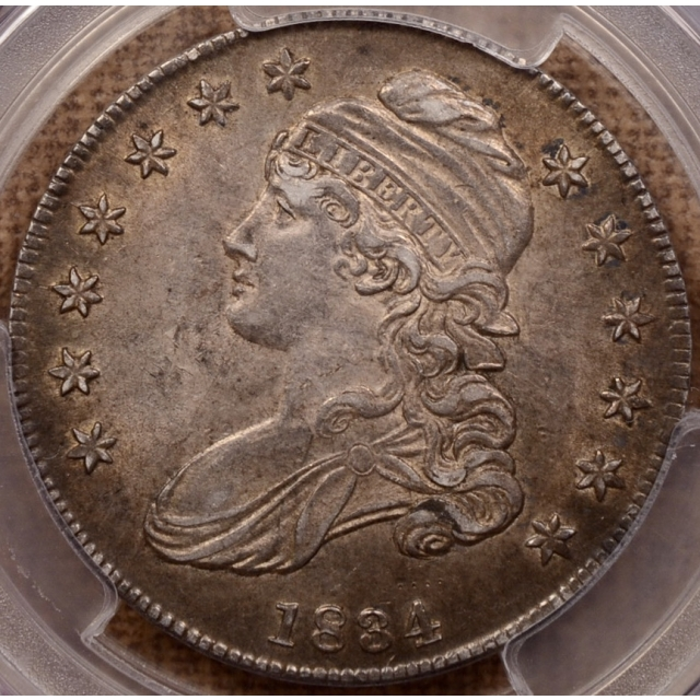1834 O.111 Small Date, Small Letters Capped Bust Half Dollar PCGS AU58 CAC