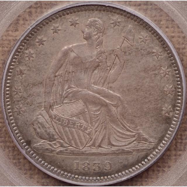1839 WB-5(?) Drapery Liberty Seated Half Dollar PCGS AU55 CAC