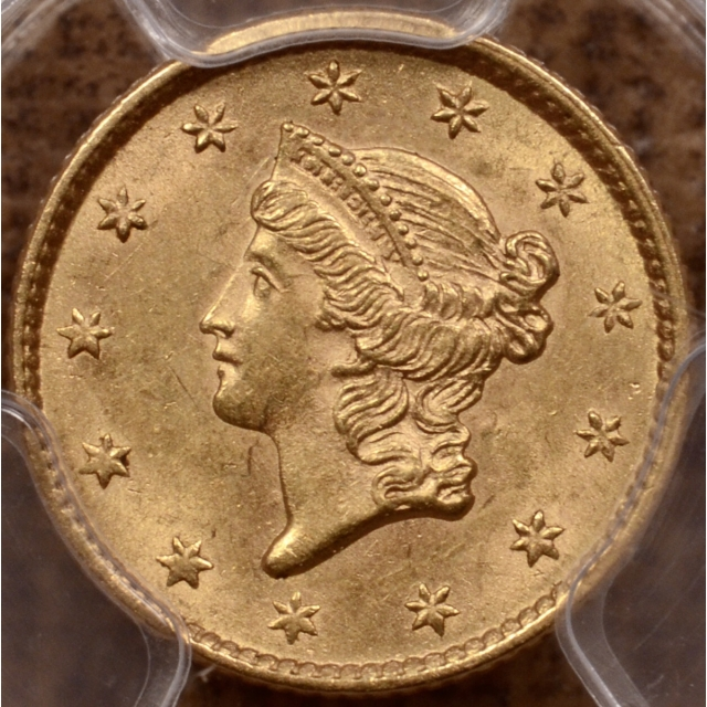 1853 Gold Dollar PCGS MS62, Western NC Hoard