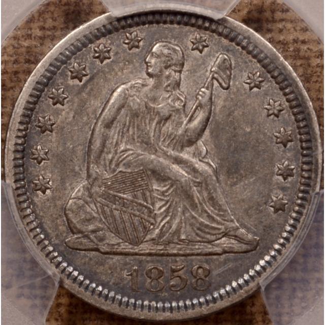 1858 Liberty Seated Quarter PCGS AU50