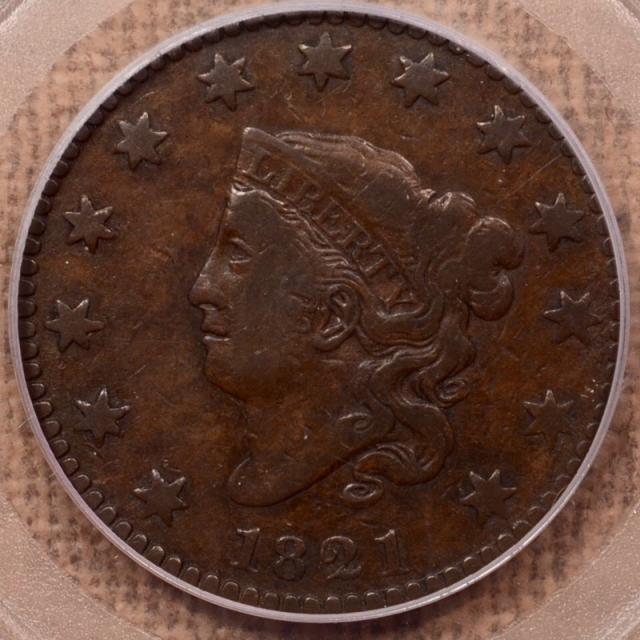 1821 N.1 Coronet Head Cent PCGS F15 OGH