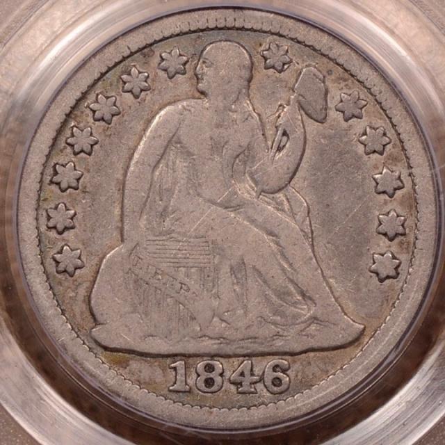 1846 Liberty Seated Dime PCGS F12
